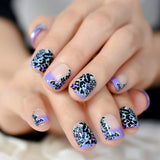 Quality Daily French Nail Natural Classical Leopard Zebra Pattern Nail Art Fake Nails with Adhesive Tabs 24/kit - PrintiLya