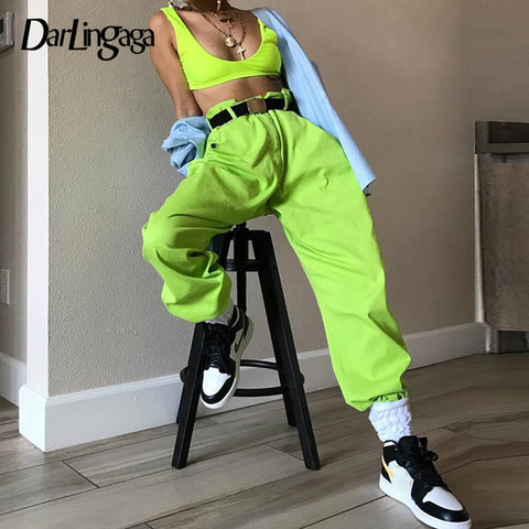 Hip Hop Fluorescent green track pants solid casual loose joggers women streetwear women's pants trousers bottom 2020 - PrintiLya