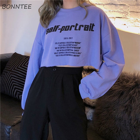 Hoodies Women Cotton Short Elegant Sweet Chic Letter Printed Sweatshirt Lady Korean Loose All-match Womens Long Sleeve Simple - PrintiLya