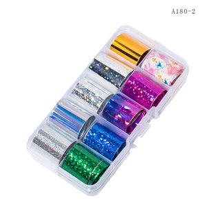 10 Design/set  2.5*100cm Holographic Nail Art Transfer Foil Stickers Paper Starry AB Color UV Gel Wraps Nail Adhesive Decals - PrintiLya