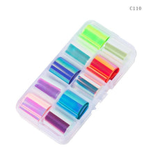 Load image into Gallery viewer, 10 Design/set  2.5*100cm Holographic Nail Art Transfer Foil Stickers Paper Starry AB Color UV Gel Wraps Nail Adhesive Decals - PrintiLya