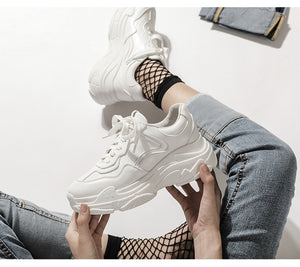 New 2019 Summer Casual Women Sneakers Air Mesh Breathable Shoes Flat Platform Casual Shoes Female Trainers White Pink Size 35-40 - PrintiLya