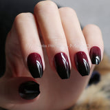 Coffin matte red black gradient fake nail Glossy nails black red medium False nails point Tip 24pcs - PrintiLya