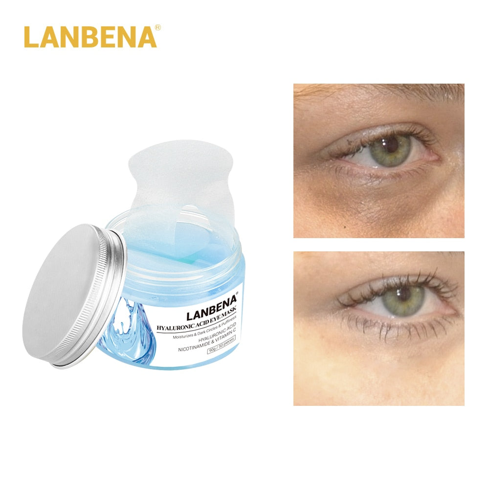 LANBENA Hyaluronic Acid Eye Mask Eye Patch Eye Care Reduces Dark Circles  Bags Eye Lines Ageless Lifting Firming Skin Care 50PCS