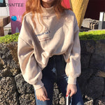 Hoodies Women Harajuku Plus Velvet Thicken Ulzzang Cotton Womens Sweatshirts Students Loose Long Sleeve Ladies Pullover Chic - PrintiLya