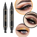 1 Pcs Double-Headed Seal Black Eyeliner Triangle Seal Eyeliner 2-in-1 Waterproof Eyes Make UP With Eyeliner Pen  Eye Liner Stamp - PrintiLya