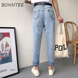 Jeans Women Denim Harem Pants Solid Simple Zipper Pockets Womens Slim High Waist Soft Loose Trousers All-match Korean Style Chic - PrintiLya