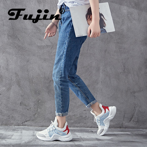 2019 Breathable Mesh Women Casual Shoes Vulcanize Female Fashion Sneakers Lace Up High Leisure Footwears - PrintiLya