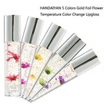 HANDAIYAN 5Color Flowers Gold Foil Color Lip Gloss Lip Oil Moisturizing Color changing Crystal Transparent Lipstick Makeup - PrintiLya
