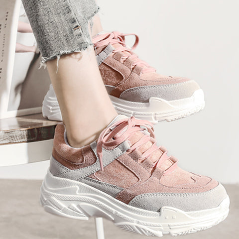 HEE GRAND New Spring Sneakers Women Platform Flats Lace Up Round Toe Solid Creepers Female Casual Fashion Comfort Shoes - PrintiLya
