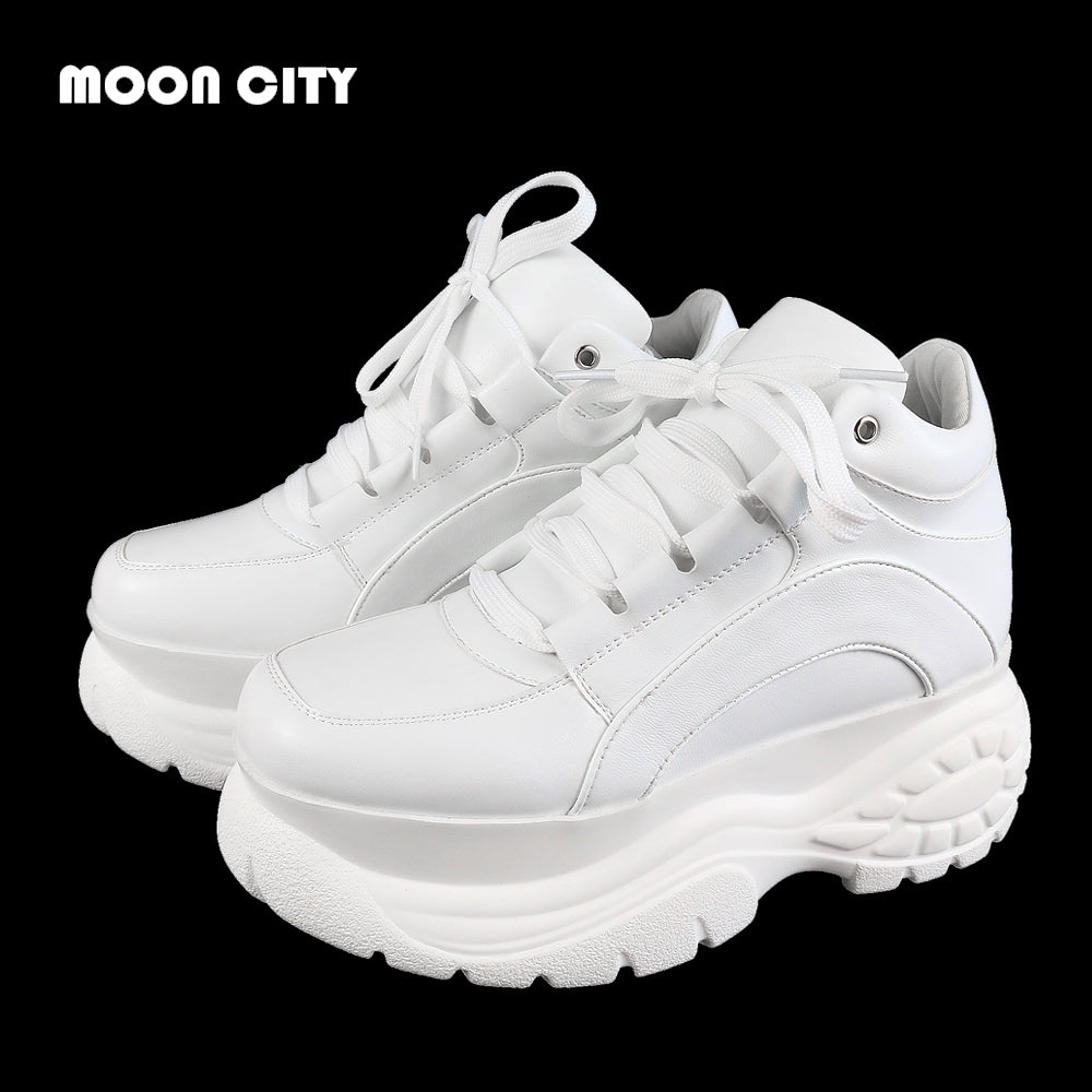 2019 New Fashion Whiter Platform Sneakers Spring Ladies Causal Shoes Woman Leather Platform Shoes Women Sneakers