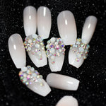 Stiletto Mate Press On Nails Custom Shimmer Shiny Rhinestones Decoration Pointed Sharp Fingernails Artificial False Nails - PrintiLya