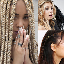 Load image into Gallery viewer, 5Pcs Hair Braids Dread Dreadlock BeadsAncient Gold/Silver Plated Adjustable Hair Braids Starfish shell Cuff Clip Braid Hoop - PrintiLya