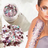 2019 Hybrid Sequins Glitter Round Colorful Glitter Pots Nail Face body Shadow Glitter Beauty Makeup Shinning Glitter Powder - PrintiLya