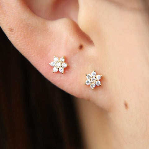 925 Sterling Silver 5mm Cz Flower 2019 Spring New Jewelry AAA Cubic Zirconia Sparking Bling Flower Studs Mini Girl Earring
