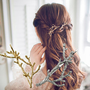 1PC Branch Leaves Hairpin  Fashion Metal Antler Branch Alloy Barrettes Bobby Hair Clips Pin Styling Tool Women Girls Gold/Silver - PrintiLya
