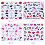 New Designs 12 pcs Sexy Lips Nail Stickers Decals Valentine Water Transfer Slider for Manicure Nail Art Decoration - PrintiLya