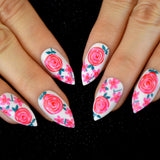 Flower Pattern Stiletto Artificial Nails Rose Red Lollipop White False Nails Sharpen Tips with Adhesive Sticker 24CT - PrintiLya