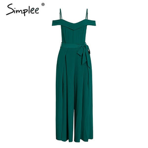 Simplee Sexy off shoulder women jumpsuit romper Elegant high waist red jumpsuit long Summer wide leg lady playsuit overalls 2019 - PrintiLya