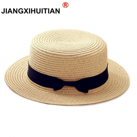 2019 simple Summer Parent-child Beach Hat Female Casual Panama Hat Lady Brand Women Flat brim Bowknot Straw cap girls Sun Hat - PrintiLya