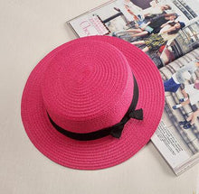 Load image into Gallery viewer, 2019 simple Summer Parent-child Beach Hat Female Casual Panama Hat Lady Brand Women Flat brim Bowknot Straw cap girls Sun Hat - PrintiLya