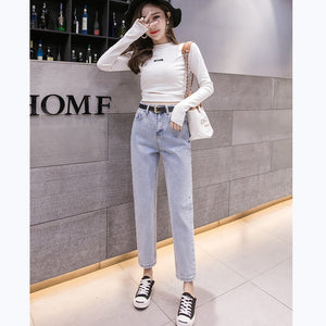 2019 Spring Clothes Ladies High Waist Female Boyfriend Jeans with a tight waistl Denim Ripped Jean Woman - PrintiLya