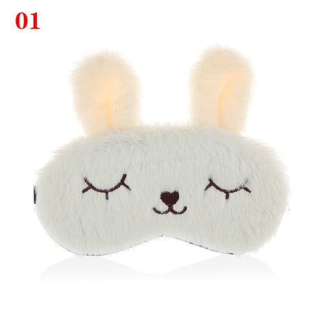1Pc Cute Plush Animal Eye Cover Sleep Mask Eyepatch Bandage Blindfold Rabbit Winter Cartoon Nap Eye Shade Plush Eye Care Tools - PrintiLya