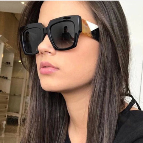 Square Oversized Sunglasses Women Luxury Brand 2019 New Designer Gradient Sun Glasses Big Frame Vintage Eyewear UV400 - PrintiLya
