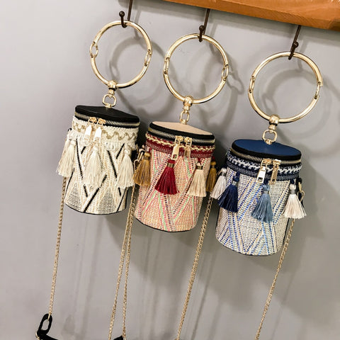 Designer Straw Bags Rattan Woven Beach Bag Shoulder Bags Women Bucket Ladies Crossbody Bags Handbag Female Bohemian Bolsa - PrintiLya