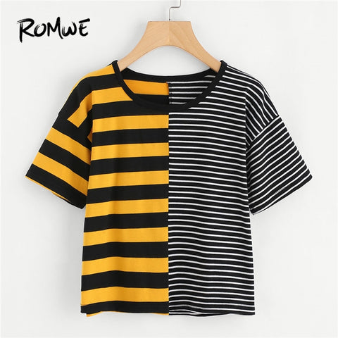 ROMWE Contrast Striped Tee Shirt 2019 Summer Round Neck Short Sleeve Casual Female Top Multicolor Stretchy Crop T Shirt
