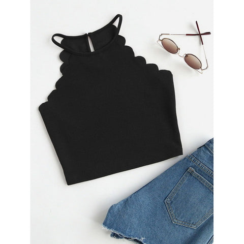 LASPERAL Women 2019 Crop Tops Solid Black Scallop Trim Halter Top New Summer Women Sleeveless Slim Camisole Women Sexy Tees Top - PrintiLya