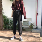 Pants Women Ankle-Length Loose Leisure Cargo Trousers High Solid Color Womens Trendy Korean Style Single Button Zipper All-match - PrintiLya