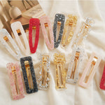 1PC New Women Girls Acrylic Hollow Waterdrop Rectangle Hair Clips Tin Foil Sequins Hairpins Barrettes Headbands Hair Accessories - PrintiLya