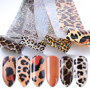 4pcs Leopard Print Stickers On Nails Foils Starry Sky Wraps Transfer Decals Polishing Sliders Nails Accessories Wrap Tools - PrintiLya