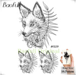 DIY Geometric Animals Fox Plant Temporary Tattoo Women Sexy Waterproof Disposable Black Tatoos Body Art Painting Tattoo Stickers - PrintiLya