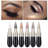 1Pcs Double-end 2-in-1 Pearly Glimmer Waterproof Eyeshadow Black Eye Liner Pen Quick Dry Women Eye Beauty Makeup Accessorices - PrintiLya