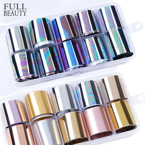 Holographic Laser Foils Nail Sticker Mixed Matt Metallic Wraps Nail Art Flower Silk Slider Sets for Gel Varnish Manicure - PrintiLya