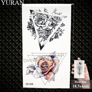 Watercolor Paper Plane Temporary Tattoo Stickers Women Body Art Arm Reed Branch Fake Tatoos Geometry Flower Lavender Tattoo Girl - PrintiLya