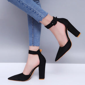 Women Pumps Sexy High Heels Shoes ladies Lace Up Point Toe Party Wedding Pump Black Woman shoes 35-43 - PrintiLya