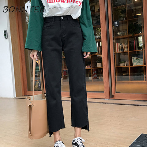 Jeans Denim Women Straight High Waist Solid All-match Loose Zipper Trousers Womens Simple Pockets Korean Style Students Daily - PrintiLya
