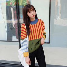 Load image into Gallery viewer, 2019 Korean New Winter Sweaters Woman Vintage Hit Color Stripe Loose Pullover Sweater Female Casual Jumpers - PrintiLya