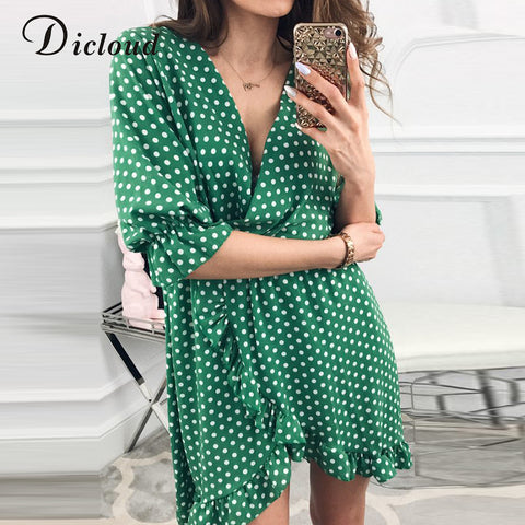 DICLOUD Short Women Dress Ruffles Print Polka Dot Sexy Bodycon Beach Female Half Sleeve Summer Party Mini Dresses Vestidos - PrintiLya