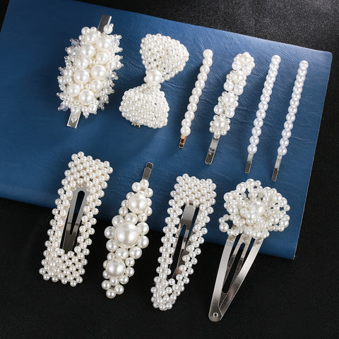 Fashion Pearl Hair Clip for Women Elegant Korean Design Snap Barrette Stick Hairpin Hair Styling Accessories - PrintiLya