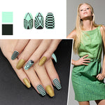 24pcs Middle Coffin False Nails Pre-designed Gold Green Stripe Glitter Press On Fake Nails Tips Nail Art Beauty Tools - PrintiLya
