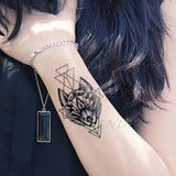 Waterproof Temporary Tattoo Stickers Wolf Dog head fake Tatto Geometric animal Flash Tatoo Hand Back Foot for Girl Women Men - PrintiLya