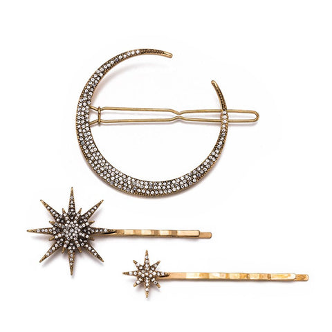 Fashion Geometric Star Moon Rhinestone Hair Clip Hairpin Hair Accessories Women Hair Clip Claw - PrintiLya