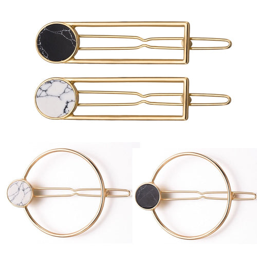 Fashion Women Girls Metal Circle Square Hair Clips Natural Stone Hairpins Barrettes Wedding Hair Clip Accessories - PrintiLya