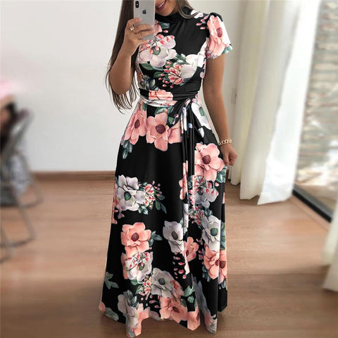 Women Summer Dress 2019 Casual Short Sleeve Long Dress Boho Floral Print Maxi Dress Turtleneck Bandage Elegant Dresses Vestido - PrintiLya