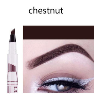 Makeup Eyebrow Pencil Waterproof Fork Tip Eyebrow Tattoo Pen 4 Head Fine Sketch Liquid Eyebrow Enhancer Dye Tint Pen - PrintiLya