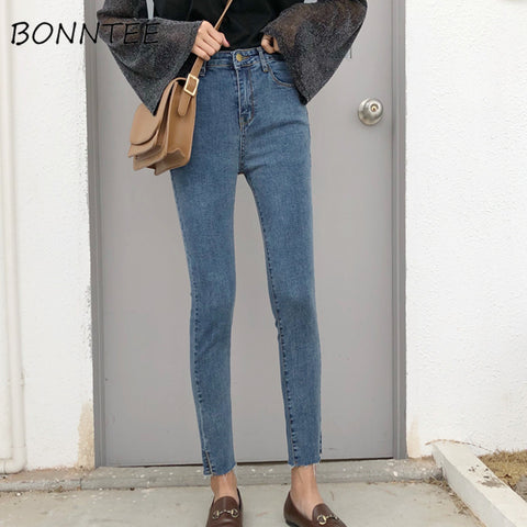 Jeans Denim Women Skinny Pencil Pants Solid Simple Pockets High Waist Womens Chic Korean Style All-match Elasticity Trousers